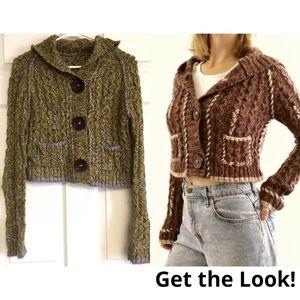Free People Cropped Cardigan Hoodie Wool Alpaca